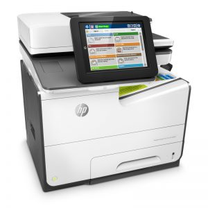 HP PageWide Managed Color Flow MFP E58650z, PageWide Technology, automatic duplexing, right view, keyboard in